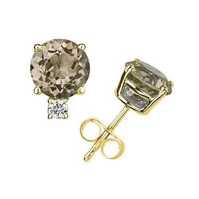 9mm Round Smokey Quartz and Diamond Stud Earrings in 14K Yellow Gold