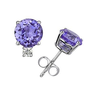 5mm Round Tanzanite and Diamond Stud Earrings in 14K White Gold