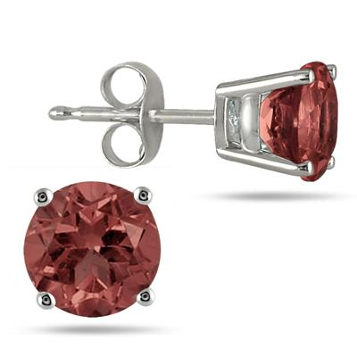 All-Natural Genuine 6 mm, Round Garnet earrings set in 14k White Gold