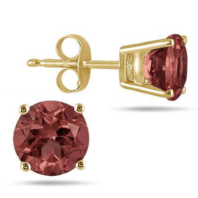 All-Natural Genuine 6 mm, Round Garnet earrings set in 14k Yellow gold