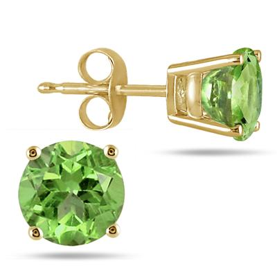 All-Natural Genuine 6 mm, Round Peridot earrings set in 14k Yellow gold
