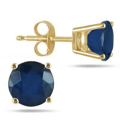 All-Natural Genuine 6 mm, Round Sapphire earrings set in 14k Yellow gold