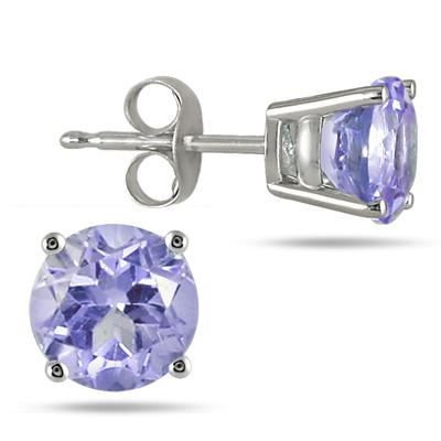 All-Natural Genuine 6 mm, Round Tanzanite earrings set in 14k White Gold