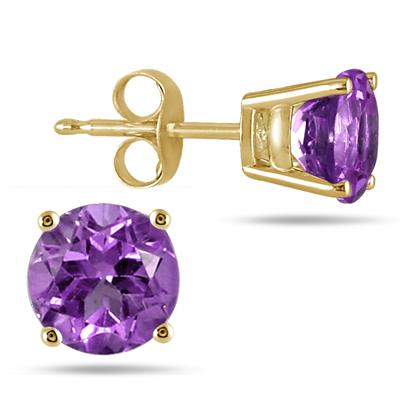 All-Natural Genuine 7 mm, Round Amethyst earrings set in 14k Yellow gold