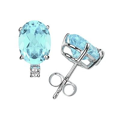 7X5mm Oval Aquamarine and Diamond Stud Earrings in 14K White Gold