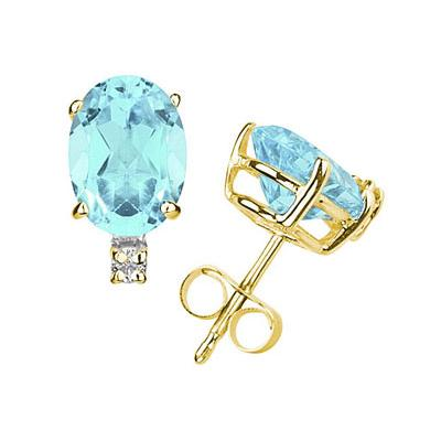 6X4mm Oval Aquamarine and Diamond Stud Earrings in 14K Yellow Gold
