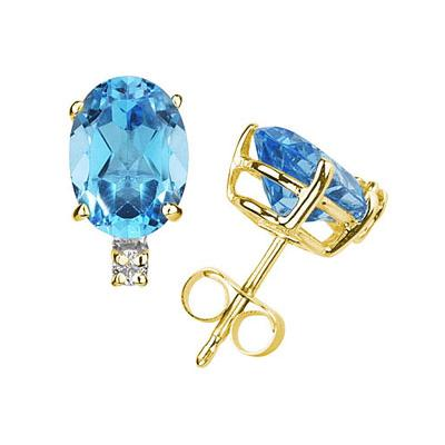 11X8mm Oval Blue Topaz and Diamond Stud Earrings in 14K Yellow Gold