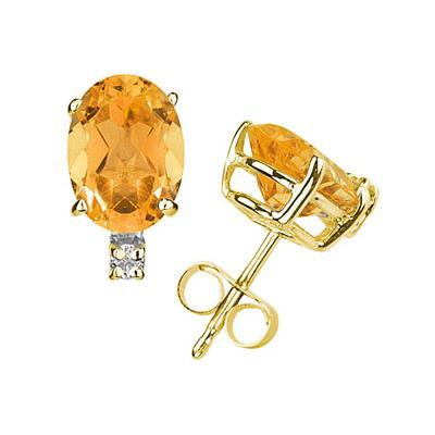 9X7mm Oval Citrine and Diamond Stud Earrings in 14K Yellow Gold