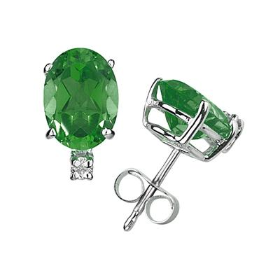 8X6mm Oval Emerald and Diamond Stud Earrings in 14K White Gold