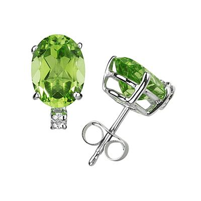 8X6mm Oval Peridot and Diamond Stud Earrings in 14K White Gold