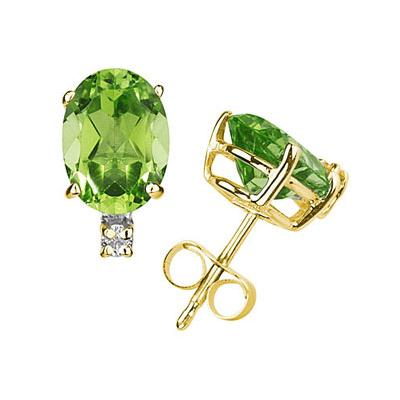 10X8mm Oval Peridot and Diamond Stud Earrings in 14K Yellow Gold