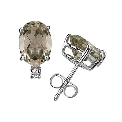 11X8mm Oval Smokey Quartz and Diamond Stud Earrings in 14K White Gold