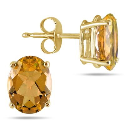All-Natural Genuine 5x3 mm, Oval Citrine earrings set in 14k Yellow gold