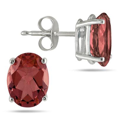 All-Natural Genuine 5x3 mm, Oval Garnet earrings set in 14k White Gold