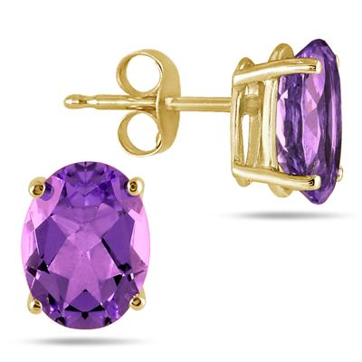 All-Natural Genuine 6x4 mm, Oval Amethyst earrings set in 14k Yellow gold
