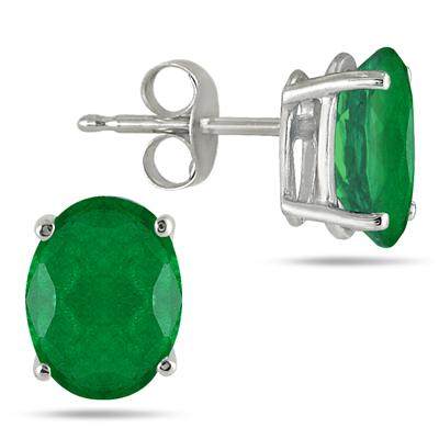 All-Natural Genuine 7x5 mm, Oval Emerald earrings set in 14k White Gold