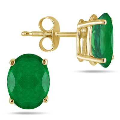 All-Natural Genuine 7x5 mm, Oval Emerald earrings set in 14k Yellow gold