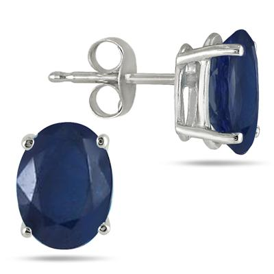 All-Natural Genuine 7x5 mm, Oval Sapphire earrings set in 14k White Gold