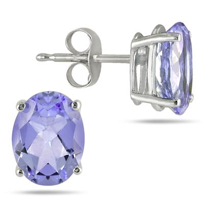 All-Natural Genuine 7x5 mm, Oval Tanzanite earrings set in 14k White Gold