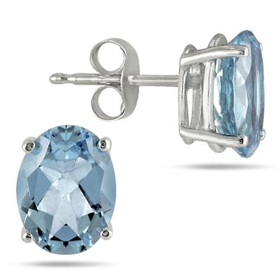 All-Natural Genuine 8x6 mm, Oval Aquamarine earrings set in 14k White Gold