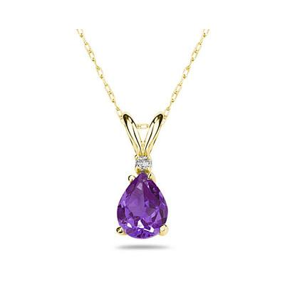 7X5mm Pear Amethyst and Diamond Stud Pendant in 14K Yellow Gold