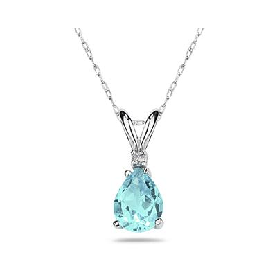 9X7mm Pear Aquamarine and Diamond Stud Pendant in 14K White Gold