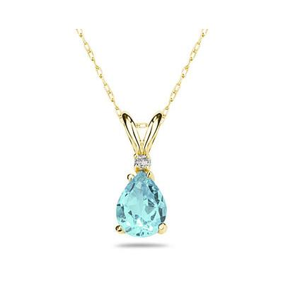 7X5mm Pear Aquamarine and Diamond Stud Pendant in 14K Yellow Gold