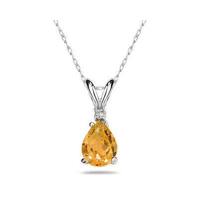 12X8mm Pear Citrine and Diamond Stud Pendant in 14K White Gold