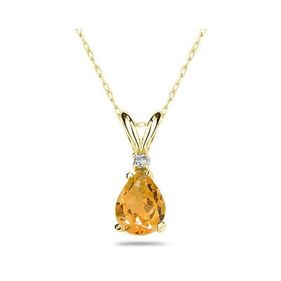 6X4mm Pear Citrine and Diamond Stud Pendant in 14K Yellow Gold