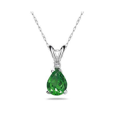 7X5mm Pear Emerald and Diamond Stud Pendant in 14K White Gold