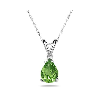 8X6mm Pear Peridot and Diamond Stud Pendant in 14K White Gold