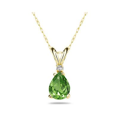 9X7mm Pear Peridot and Diamond Stud Pendant in 14K Yellow Gold