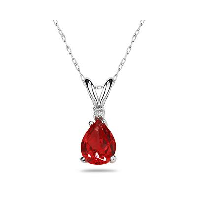 7X5mm Pear Ruby and Diamond Stud Pendant in 14K White Gold