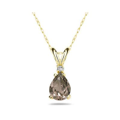 12X8mm Pear Smokey Quartz and Diamond Stud Pendant in 14K Yellow Gold