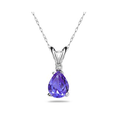 7X5mm Pear Tanzanite and Diamond Stud Pendant in 14K White Gold