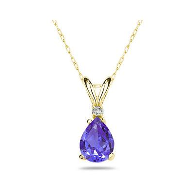 7X5mm Pear Tanzanite and Diamond Stud Pendant in 14K Yellow Gold