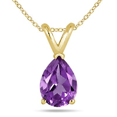 All-Natural Genuine 8x6 mm, Pear Shape Amethyst pendant set in 14k Yellow gold