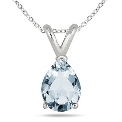All-Natural Genuine 8x6 mm, Pear Shape Aquamarine pendant set in 14k White Gold