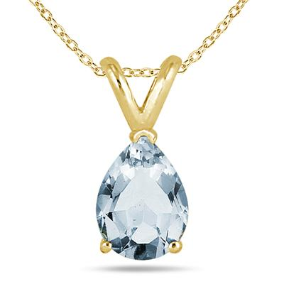 All-Natural Genuine 8x6 mm, Pear Shape Aquamarine pendant set in 14k Yellow gold