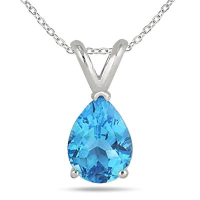 All-Natural Genuine 8x6 mm, Pear Shape Blue Topaz pendant set in 14k White Gold