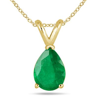 All-Natural Genuine 8x6 mm, Pear Shape Emerald pendant set in 14k Yellow gold