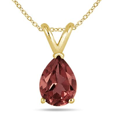 All-Natural Genuine 8x6 mm, Pear Shape Garnet pendant set in 14k Yellow gold