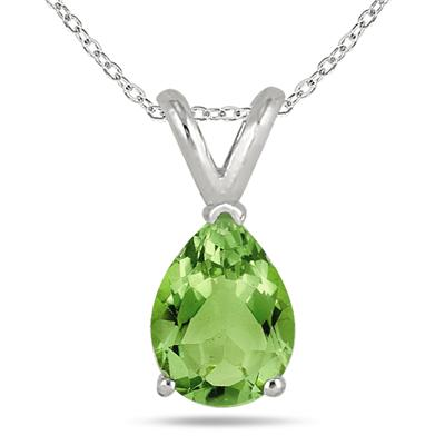 All-Natural Genuine 8x6 mm, Pear Shape Peridot pendant set in 14k White Gold