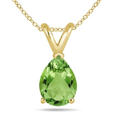 All-Natural Genuine 8x6 mm, Pear Shape Peridot pendant set in 14k Yellow gold