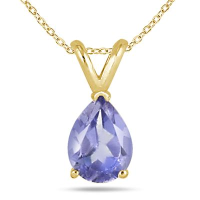 All-Natural Genuine 8x6 mm, Pear Shape Tanzanite pendant set in 14k Yellow gold