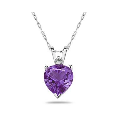 7mm Heart Amethyst and Diamond Stud Pendant in 14K White Gold