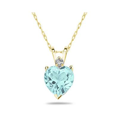 8mm Heart Aquamarine and Diamond Stud Pendant in 14K Yellow Gold