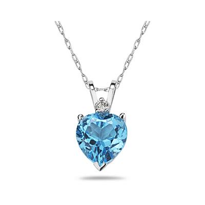 7mm Heart Blue Topaz and Diamond Stud Pendant in 14K White Gold