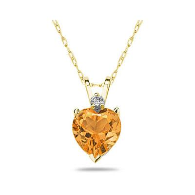 10mm Heart Citrine and Diamond Stud Pendant in 14K Yellow Gold