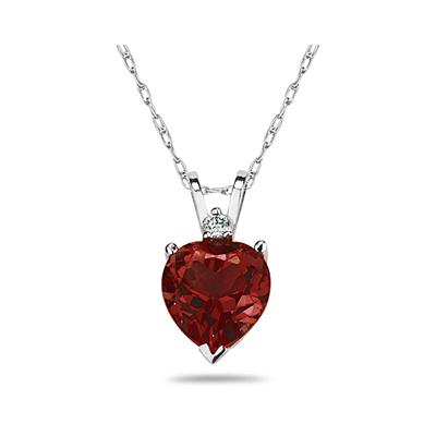 7mm Heart Garnet and Diamond Stud Pendant in 14K White Gold